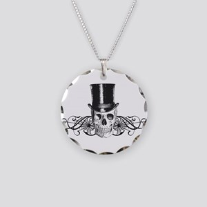 B&W Vintage Tophat Skull Necklace Circle Charm