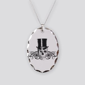B&W Vintage Tophat Skull Necklace Oval Charm