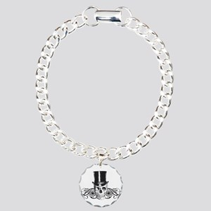 B&W Vintage Tophat Skull Charm Bracelet, One Charm