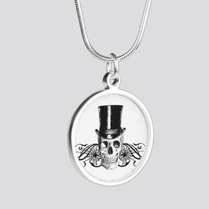 B&W Vintage Tophat Skull Silver Round Necklace