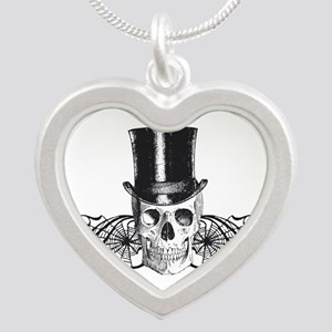 B&W Vintage Tophat Skull Silver Heart Necklace