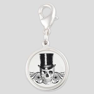 B&W Vintage Tophat Skull Silver Round Charm