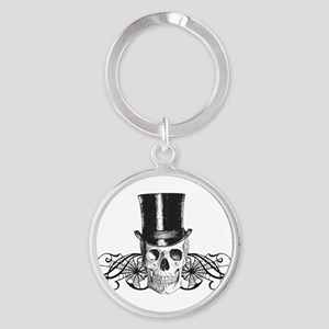 B&W Vintage Tophat Skull Round Keychain