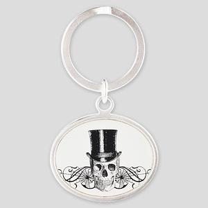 B&W Vintage Tophat Skull Oval Keychain