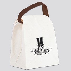B&W Vintage Tophat Skull Canvas Lunch Bag