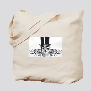 B&W Vintage Tophat Skull Tote Bag