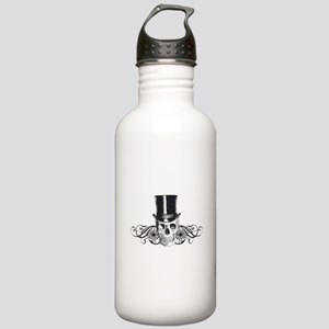 B&W Vintage Tophat Skull Stainless Water Bottle 1.