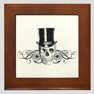 B&W Vintage Tophat Skull Framed Tile
