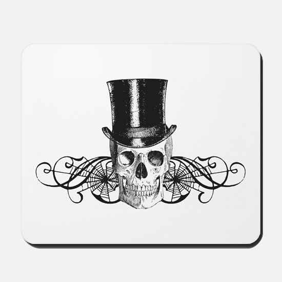 B&W Vintage Tophat Skull Mousepad