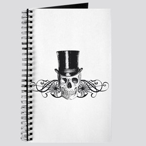 B&W Vintage Tophat Skull Journal