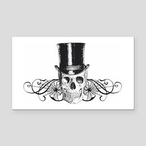 B&W Vintage Tophat Skull Rectangle Car Magnet