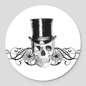 B&W Vintage Tophat Skull Round Car Magnet