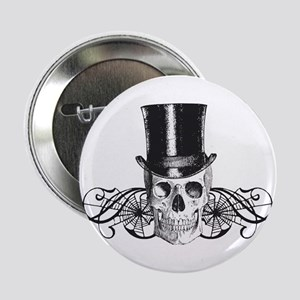 """B&W Vintage Tophat Skull 2.25"""" Button"""