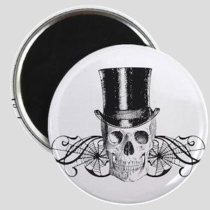 B&W Vintage Tophat Skull Magnet
