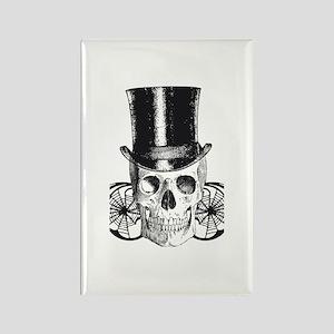B&W Vintage Tophat Skull Rectangle Magnet