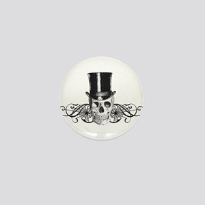 B&W Vintage Tophat Skull Mini Button