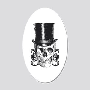 B&W Vintage Tophat Skull 20x12 Oval Wall Decal