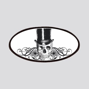 B&W Vintage Tophat Skull Patches