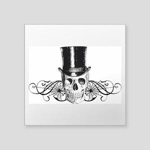 "B&W Vintage Tophat Skull Square Sticker 3"" x 3"""
