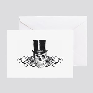 B&W Vintage Tophat Skull Greeting Card