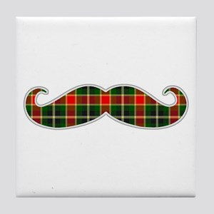 Red and Green Christmas Plaid Mustache Tile Coaste