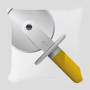 Pizza Cutter Woven Throw Pillow