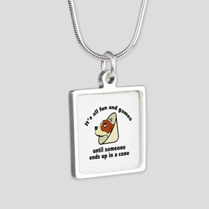 It's All Fun And Games Silver Square Necklace