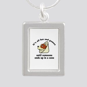 It's All Fun And Games Silver Portrait Necklace