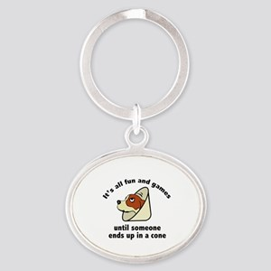 It's All Fun And Games Oval Keychain