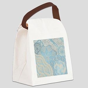 Lace panel (blue) Canvas Lunch Bag