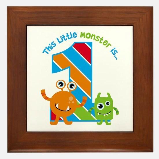 Little Monster 1st Birthday Framed Tile