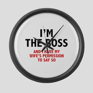 I'm The Boss Large Wall Clock