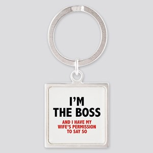 I'm The Boss Square Keychain