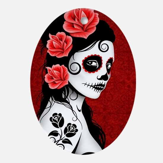 Day of the Dead Girl - Deep Red Oval Ornament