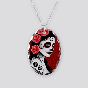 Day of the Dead Girl - Deep Re Necklace Oval Charm