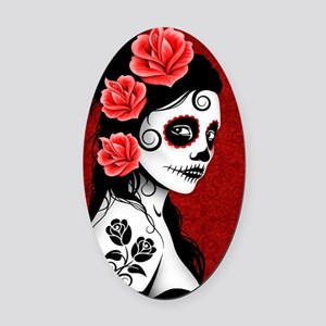 Day of the Dead Girl - Deep Red Oval Car Magnet