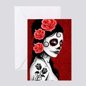 Day of the Dead Girl - Deep Red Greeting Card