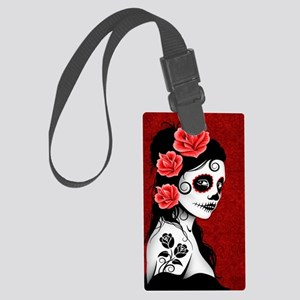 Day of the Dead Girl - Deep Red Large Luggage Tag