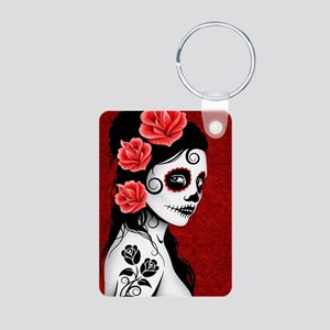 Day of the Dead Girl - Dee Aluminum Photo Keychain