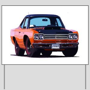 BabyAmericanMuscleCar_69_RoadR_Orange Yard Sign