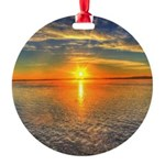 Beautiful Sunset Scenic View Photography Round Orn