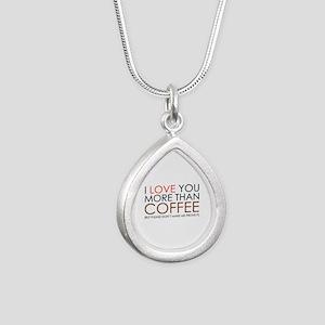I love You More Than Coffee Silver Teardrop Neckla
