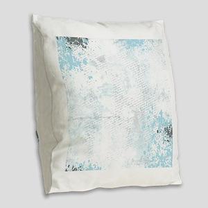 Blue grunge - sharp edge Burlap Throw Pillow