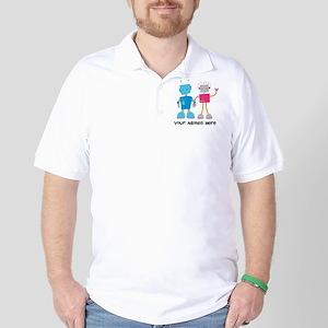Robot Couple Retro Golf Shirt
