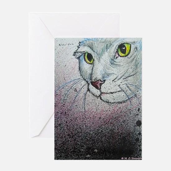 Cat, cat face, art Greeting Cards