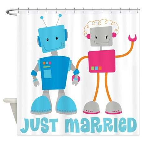 Just Married Retro Robot Newlyweds Shower Curtain