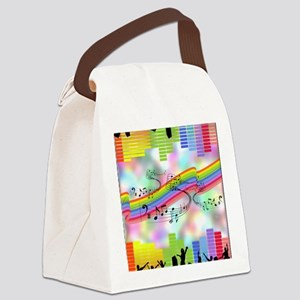 Colorful Musical Theme Canvas Lunch Bag