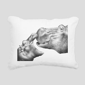 Hippo  Calf Panel Print Rectangular Canvas Pillow