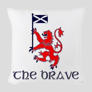 The brave Scottish lion Woven Throw Pillow