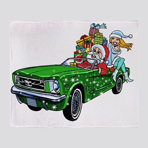 Muscle Car Santa Throw Blanket